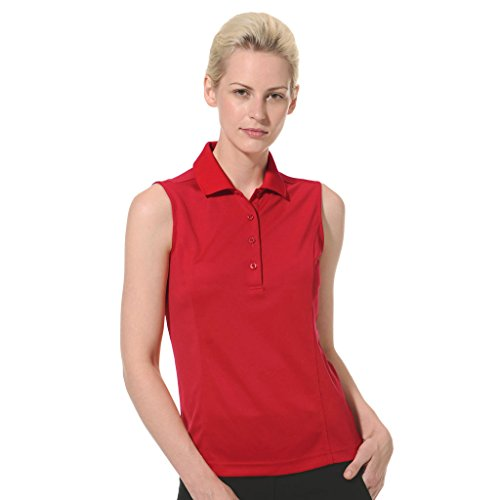 Monterey Club Ladies Dry Swing Solid Lightweight Pique Sleeveless Polo #2064 (Red, X-Large)