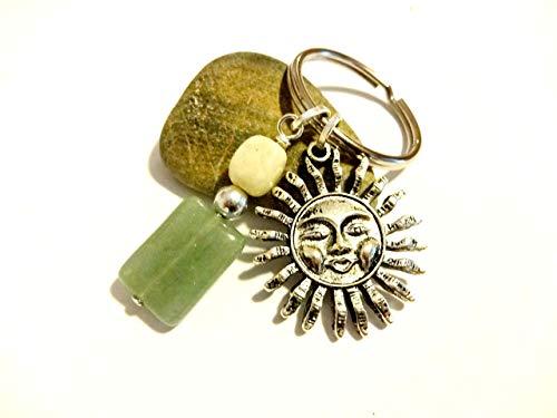 Cool Celestial Keychain With Yellow Jade and Green Aventurine Gemstones