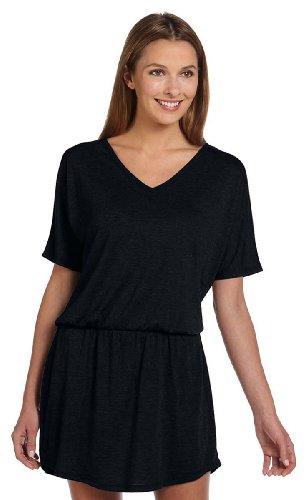 Bella 8812 Womens Flowy V-Neck Dress - Black, Extra (Canvas Womens Dress)