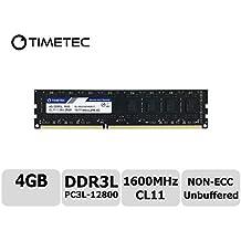 Timetec Hynix IC 4GB DDR3L 1600MHz PC3L-12800 Non ECC Unbuffered 1.35V/1.5V CL11 2Rx8 Dual Rank 240 Pin UDIMM Desktop PC Computer Memory Ram Module Upgrade (Low Density 4GB)