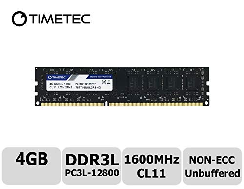 Elitegroup Desktop Computers - Timetec Hynix IC 4GB DDR3L 1600MHz PC3L-12800 Non ECC Unbuffered 1.35V/1.5V CL11 2Rx8 Dual Rank 240 Pin UDIMM Desktop PC Computer Memory Ram Module Upgrade (4GB)