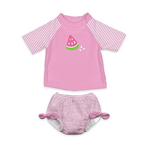 i play. Girls' Rashguard Set with Built-in Absorbent Swim Diaper, Pink Watermelon, ()