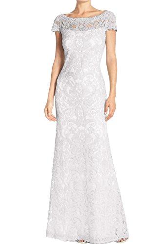Weiss Brautmutterkleider Spitze Weiß Partykleider Abendkleider Ivydressing Damen Elegant Kurzarm 2017 Rund Lang Neu nxxZgwSvq
