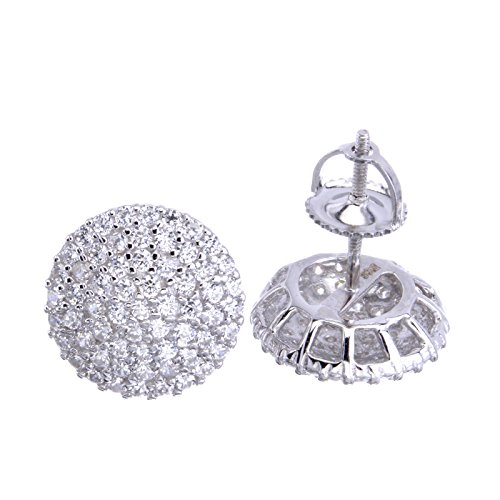 (Iced Out Round Micro Pave 12 mm Screw Back Stud Earrings SHS 493)