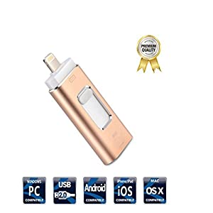 USB Flash Drives for iPhone 32GB Pen-Drive Memory Storage, 3 in 1 Jump Drive Lightning Memory Stick External Storage, Memory Expansion for Apple IOS Android Computers (Gold)