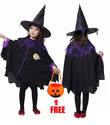 AISHNE Halloween Witch Costumes for Girls/Witch Child Costume/Halloween Dress for Kids