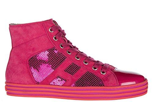 Hogan Rebel Zapatos Zapatillas de Deporte Largas Mujer EN Ante Nuevo r141 Fuxia