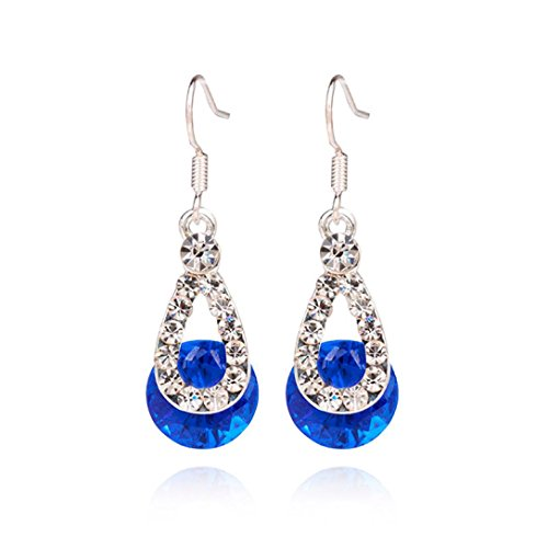 Voberry Fashion Women Big Crystal Pendant Fashion Long Paragraph Brilliant Drop Dangle Earrings (Blue)