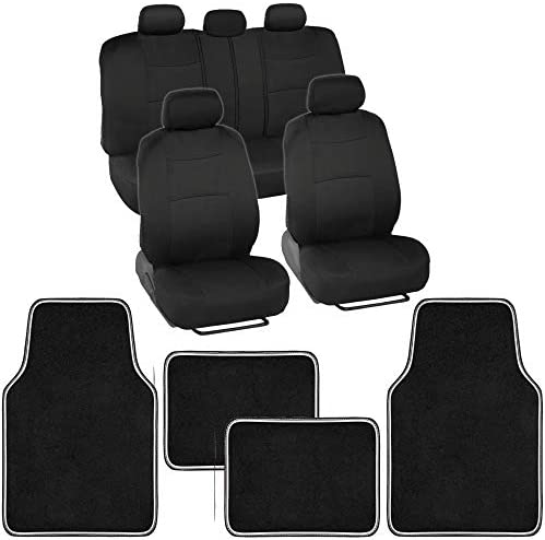 Front & Rear Combo Set of 4 Piece Brite MATS Auto Carpet Floor Mats with PolyPro Car Seat Covers, Two-Tone Accent, Universal Fit for Car Truck Van SUV, Colorful Outline Design Floor Liners
