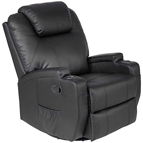Swivel Lift Chair - Casart Leather Massage Recliner Chair Electric Heated Sofa Swivel Ergonomic Power Recliner Living Room Lounge Swivel Lift Massaging Reclining Chair w/Remote Control Cup