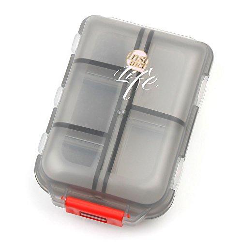 Pill Medication Box (Bidear Pill Case - Portable Travel Tablet Medicine Vitamin Pill Organizer Box for Purse or Pocket,10 Compartments,Translucent Black)