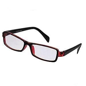 SODIAL(R) Red Black Plastic Full Rim Rectangle Lens Plain Eyeglasses Plano Glasses for Children
