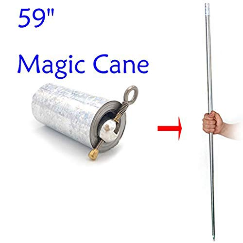 "WSNMING 59""/150cm Metal Appearing Cane with Free Gloves and Video Turorial, Pocket Bo Staff Magic Wand Stage Close-up Magic Trick"