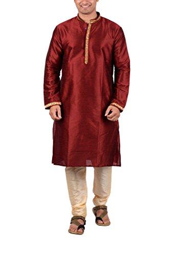 Maharaja Mens Raw Silk Festive Kurta Pyjama Set in Maroon [MSKP007-38]