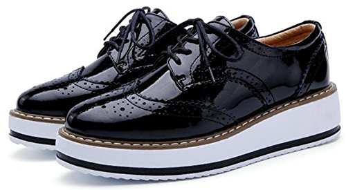 Chaussures à Lacets Noir WUIWUIYU Femme FOZWZ6