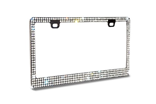 - Premium 4 Rows White/Clear(C-Type Screw Cap)WB Real Crystal Rhinestone Embedded-Metal Smoke/Black License Plate Frame