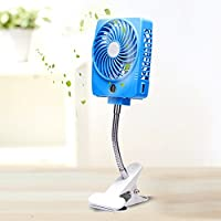 LOHOME® Mini Clip-on Fan, Handheld Square Electrical Rechargeable Fan Portable 3 Speeds Cooler Desktop Fan Power Bank Fan with LED Lights Clip Base USB Cable for Summer (Blue)