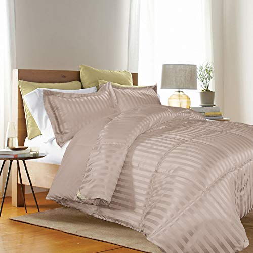 Taupe Damask Stripe - Kathy ireland - ESSENTIALS Microfiber Damask Stripe/Solid 3-PC Reversible Down Alternative Comforter Set, King, Taupe