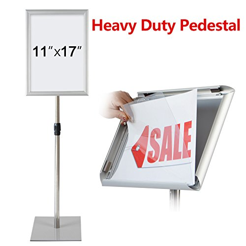 T-Sign Adjustable Heavy Duty Pedestal Poster Stand - Heavy Square Steel Base, Aluminum Snap Open Frame For 11 x 17 Inches, Both Vertical and Horizontal View Sign Displayed, Color Sliver