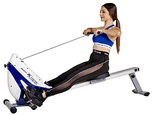 Body Xtreme Fitness Tri-Base Heavy Duty Rowing Machine with Bonus Cooling Towel (White/Blue)