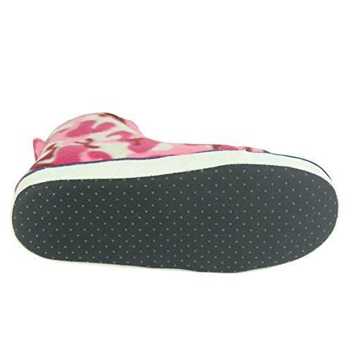 Forfoot Mens House Pantoufles Hiver Chaud Antidérapant Bottes Dintérieur Pour La Maison Camo Rose