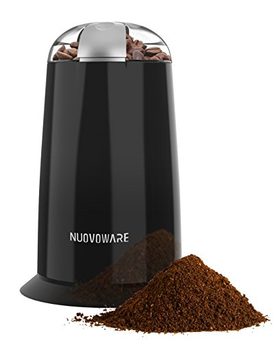 Nuovoware Coffee Grinder, Automatic Premium Electric Spice & Coffee Grinder with Stainless Steel Blades and Transparent Lid, Black