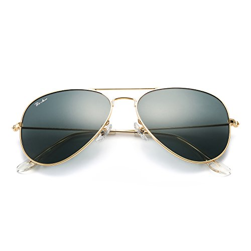 Aviator Sunglasses for Men Women Large Metal Frame Crystal Lens, Choose 58mm or 62mm Gold Frame/Crystal Grey