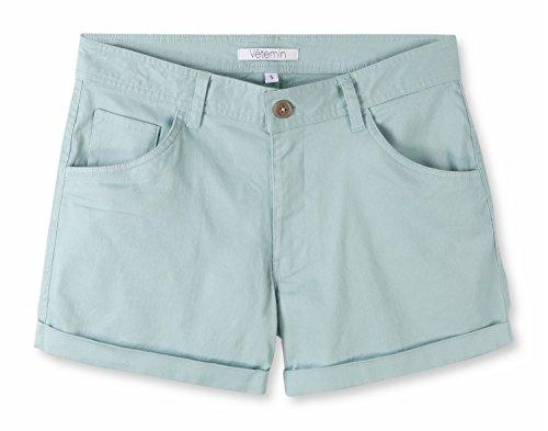 Green Walking Shorts - Vetemin Women's Juniors Comfy Fitted 5-Pocket Cuffed Casual Walking Chino Shorts Neptune Green S