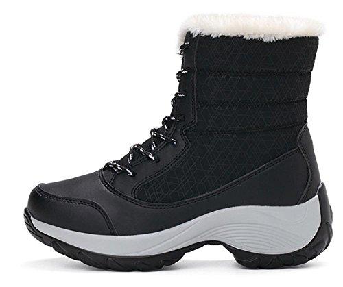 Tobillo Impermeable Nieve Libre Grueso Cordones Invierno Con Negro Nvxie Plano Antideslizante Black Botas Al Eur 4 Fondo 5 eur39uk665 Zapatillas Aire 37 Zapatos Mujeres uk Cuero 5 UqxPx6IE