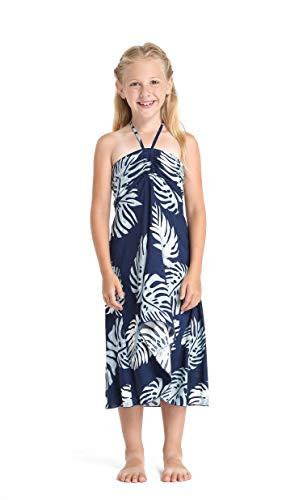 Girl Hawaiian Halter Dress in Palm Leaf Navy Size 6
