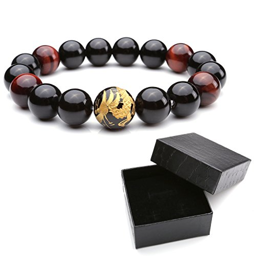 Eye Pattern (Zysta 12mm Men's Natural Tiger Eye Agate Stone Bracelet W/14mm Silver, Gold, Dragon King Pattern Buddha Mala Prayer Beads 6.8