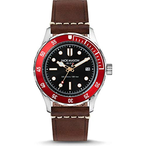 Jack Mason Black Diver Watch | Brown Leather Strap