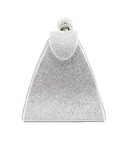 allx Full Rhinestone Fashion Evening Bag Triangle Women (Simple silver) ()