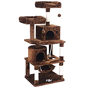 BEWISHOME Cat Tree Condo Furniture Kitten Activity Tower Pet Kitty Play House with Scratching Posts Perches Hammock MMJ01 46