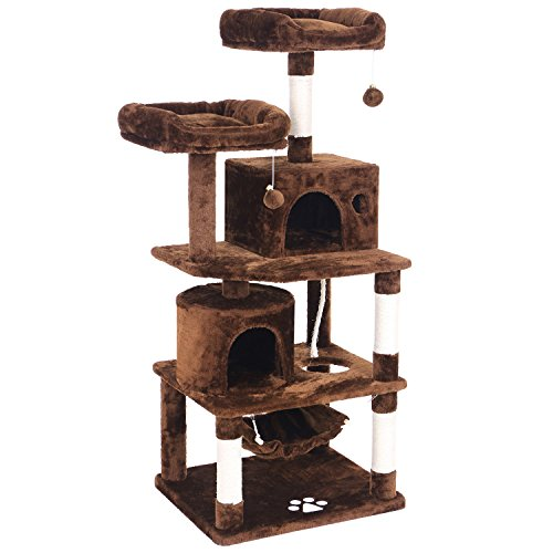 BEWISHOME Cat Tree with Sisal Scratching Posts, 2 Condos, Plush Perches, Jingly Balls and Hammock, Cat Condo Tower Furniture Kitty Kitten Activity Center Pet Play House Brown MMJ01Z