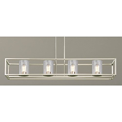 Chandelier Nickel Rectangular (Industrial 4-Light Linear Chandelier with Clear Glass in Satin Nickel)