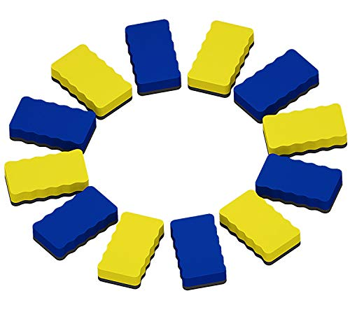Attmu Magnetic Whiteboard Dry Erasers, 12 Pack - 6 Blue and 6 Yellow, 2.2 x 4 Inches Each -