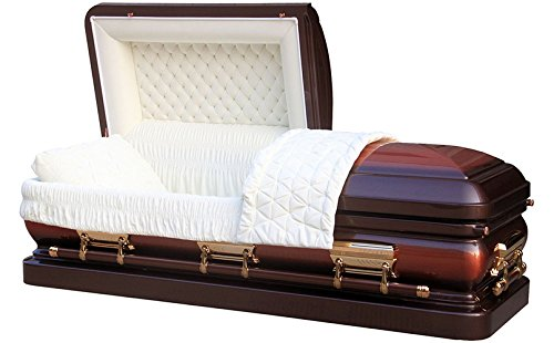 (Overnight Caskets - Full Brush Copper W Heritage Bronze Finish 18 Gauge Casket Coffin)