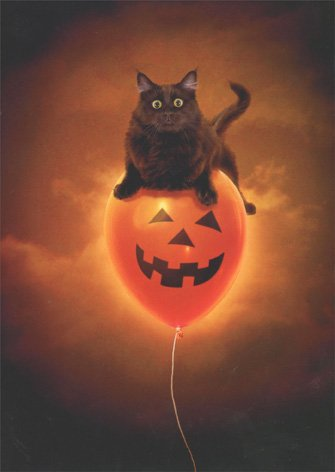Cat On Balloon Press Halloween Card