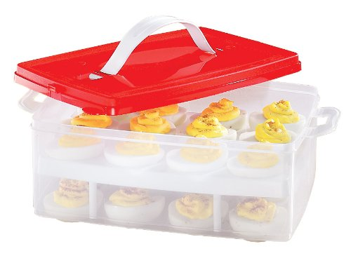 2 TIER SNAP N STACK DEVILED EGG CARRIER (EACH HOLDS 24 EGGS!) BW BRANDS 870