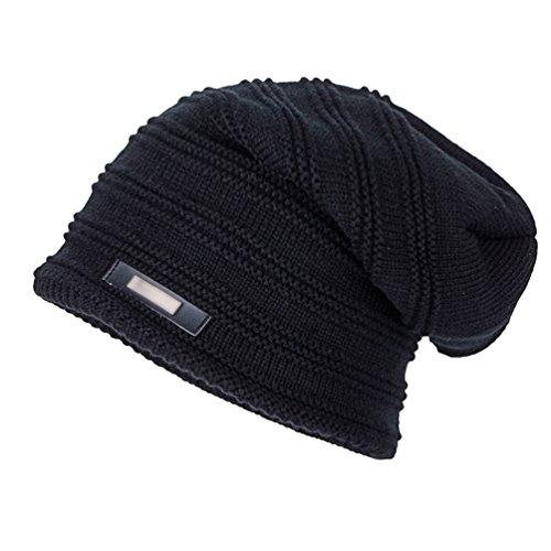de Casual Negro Beanie Moda Hombre de Diseño Invierno Elegante Punto Gorro YiJee IP5qaEwnxq