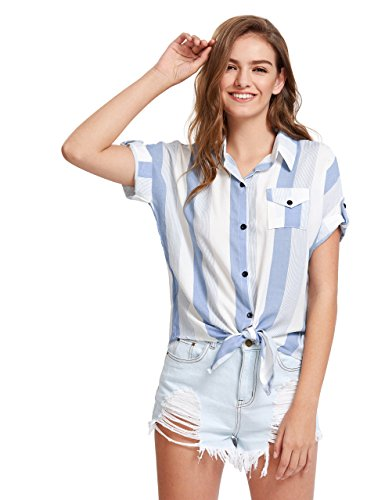 Romwe Womens Striped Knotted Front Blouse Roll Sleeve Shirt Chest Pocket