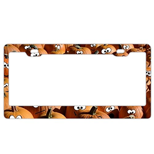 Verna Christopher Graphics and More Personalized Naughty Pumpkin on White License Plate Frame -