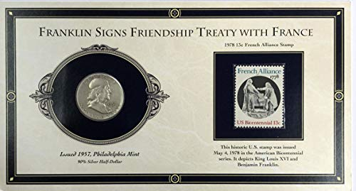 1957 P Benjamin Franklin Half Dollar 50c & 1978 13c French Alliance Stamp - Franklin Signs Friendship Treaty With France - Collectors Story Edition - History