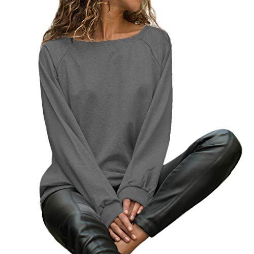ANJUNIE Womens Casual Long Sleeve Pullover O Neck Solid T Shirts Fall Tops Sweatshirt(Dark Gray,L) -