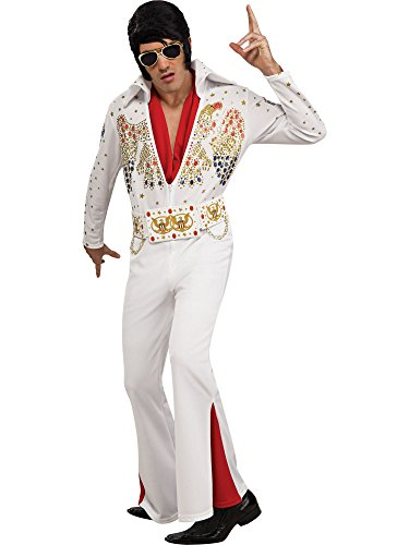 Elvis Now Deluxe Aloha Elvis Costume, White, - Costume White Elvis