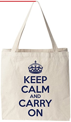 "Keep Calm And Carry On (KCCO) - Natural Cotton Canvas Tote Bag 12 Oz (11""X14""X5"") Reusable Ideal for Groceries, Shopping, School and Office Use"