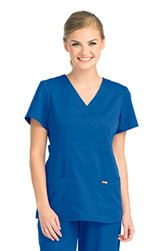 Grey's Anatomy Signature Women's Junior Fit 3 Pocket Mock Wrap Scrub Top, New Royal, 3X-Large (Mock Top Signature Wrap)