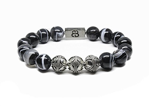 Black Striped Onyx and Sterling Silver Bracelet, Men's Onyx Bracelet by Kartini Studio