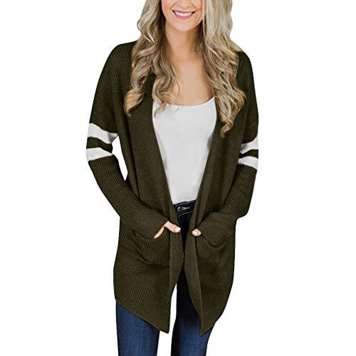 Women Striped Long Sleeve Knitted Sweater Pockets Long Cardigan Top Coat Outwear ()